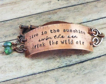 Hiker Bracelet - Live in the Sunshine, Swim the Sea, Drink the Wild Air - Gift for Adventurer - Nature Lover - Ralph Waldo Emerson Quote