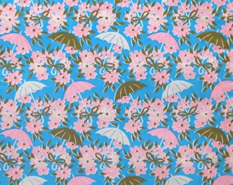 Vintage Wrapping Paper - Gift Wrap - For SHOWER - Umbrellas and Flowers - 1960s