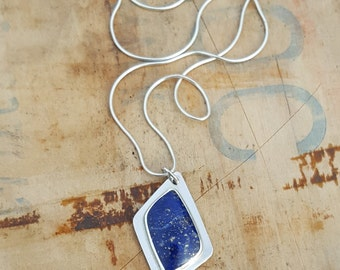 Lapis Sterling Silver Pendant, gemstone, bezel, sterling jewelry