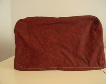 Toaster Oven Cover - Burgundy/Garnet Print Fabric