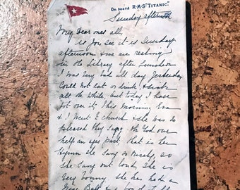 RMS Titanic Artifact - Letter Written Aboard the Ship - Reproduction