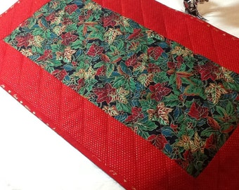 Quilted Christmas Table Runner, Red and Green Table Runner, Quiltsy Handmade