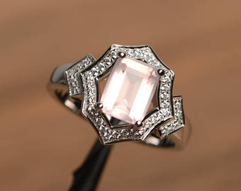 natural pink quartz ring engagement ring emerald cut pink gemstone sterling silver gifts