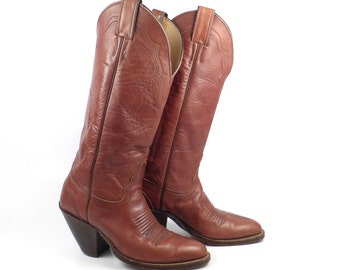 Brown Cowboy Boots Vintage 1980s Tall Justin Western Women's size 6 B