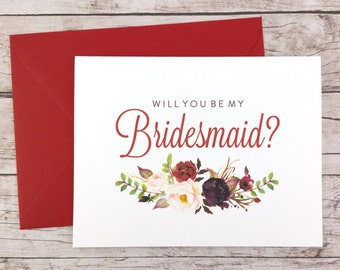 Will You Be My Bridesmaid Card, Bridesmaid Proposal Card, Floral Bridesmaid Card, Wedding Card, Bridesmaid Gift - (FPS0050)