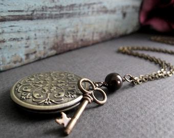 Skeleton Key Necklace Locket, Antique Gold Brass Locket, Steampunk Charm, Vintage Style Necklace - MY SECRET