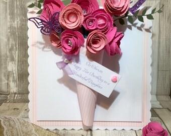 3D Rose Bouquet Card, Rose Valentines Card, Rose Birthday Card, Flower Card, 3D Card, 3D Flower Card, Mothers Day Card, Valentines Card.