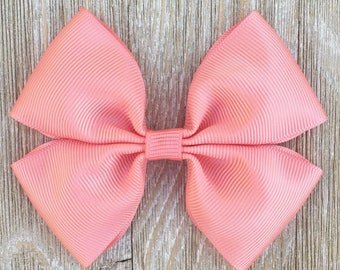 Coral grosgrain ribbon hair bow on a french barrette or hair clip or baby headband, everyday wear, back to school girls hair bow