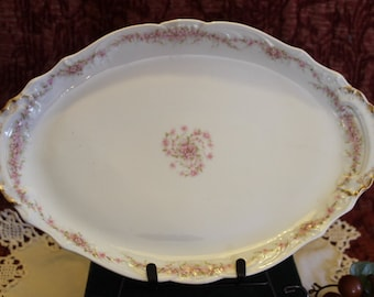 """Antique Theodore Haviland French Limoges 14"""" Oval Serving Platter - Pink Roses and Gold Gilding"""