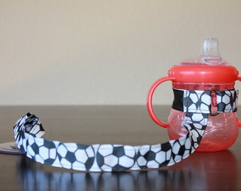 Sippy Cup Leash, Sippy Cup Strap, Suction Sippy Strap, New Baby Gift, Christmas Gift - Soccer