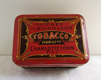 Antique Hickey And Nicholson Manufrs Charlottetonwn Tobacco Tin