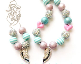 Mother Daughter Heart Pendant Chunky Bead Necklace Set
