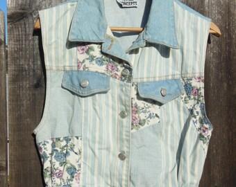 90s vintage denim vest floral checker patchwork / roses stripes cute cottage chic western hipster boho / Cali girl summer jean vest top / M