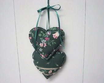 Green Heart Hangings, Valentine Hearts Wall hanging, Fabric Hearts Wall Hanging, Wall Decorations