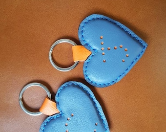 Handmade Leather Heart Keyrings