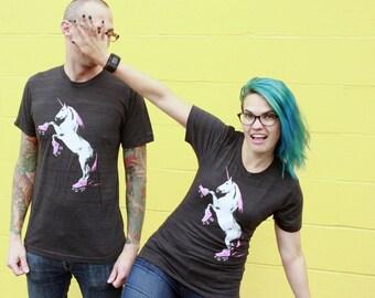 Roller Skating Unicorn Shirt: Crew Neck, Roller Derby Gift, Funny Unicorn Shirt, Unicorn TShirt, Roller Derby TShirt