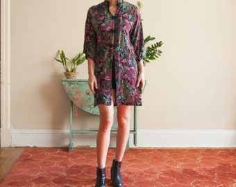 Floral Short Long Sleeve Oriental Tunic