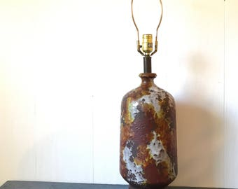 vintage table lamp - large metal lamp - wax coated - orange yellow brown - vintage lighting