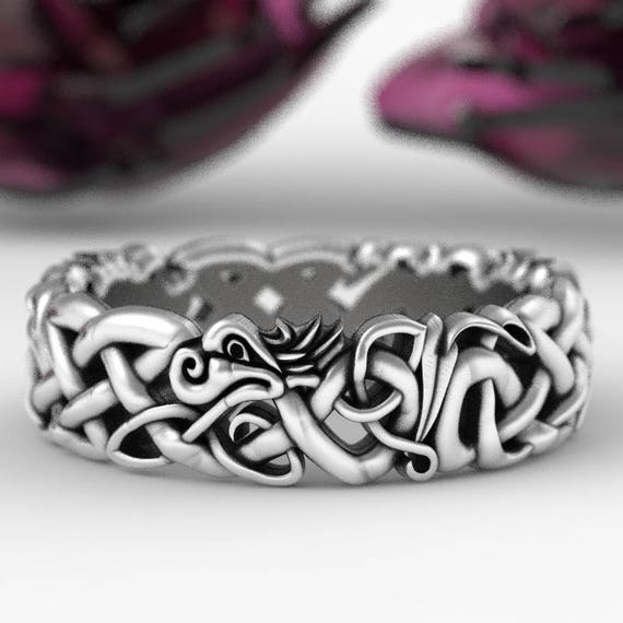 Sterling Silver Celtic Dragon Ring, Womens Wedding Band, Mens Wedding Band, Dragon Jewelry, Celtic Knot Ring, Custom Size 1191