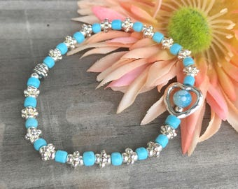 Beaded Heart Bracelet, Womens Beaded Bracelet, Handmade Bracelet, Beaded Bracelet, Heart Bracelet, Light Blue Bracelet