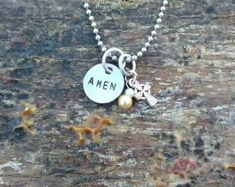 AMEN hand stamped pendant. Your choice of either Necklace or Keychain