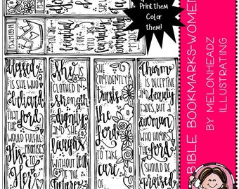 Bible Bookmarks clip art - Printable - Women
