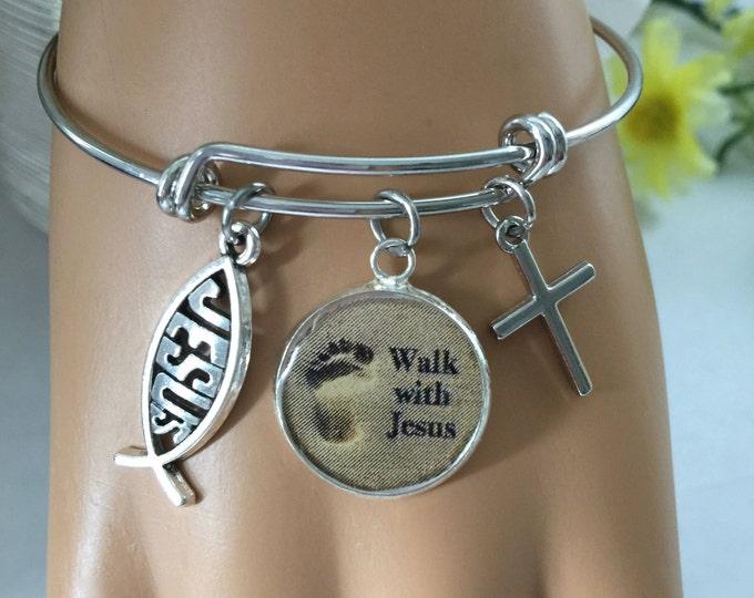 Christian Bangle Bracelet, Walk with Jesus, Scripture Jeremiah 29:11, Religious jewelry, Christian charm bracelet, non-tarnish rhodium plate