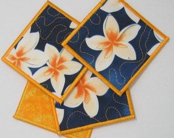 Frangipani coasters (set of 4 - yellow trim)