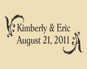Kimberly and Eric Save the Date Custom Rubber Stamp Design WR005