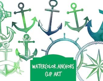ANCHOR clip art, watercolor, green blue anchor digital clip art, nautical, coastal, clip art, Instant download clip art anchors, PNG anchors