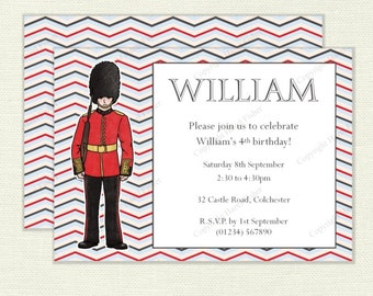 London Calling Invitation - customised digital invite for birthday parties, British soldier from the Queen's Guard, party printable - IN005