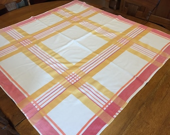 Kitchen Tablecloth, Vintage Woven Cotton, Pink Yellow White Plaid, Russel Wright Style, 48 x 50 rectangle