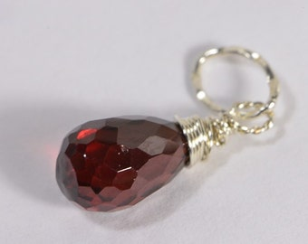Red Garnet Birthstone Charm Birthstone Jewellry Red Garnet  Pendant Wire Wrapped Pendant Gemstone Teardrop