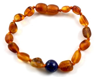 Raw NATURAL BALTIC AMBER Baby Teething Anklet or Bracelet