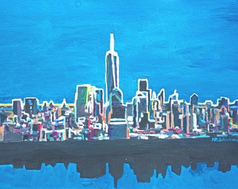 Neon Skyline of New York City Manhattan with One World Trade Center - Limited Edition Fine Art Print