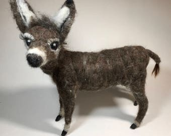 Donkey - Needle-Felted, Posable
