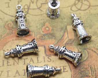 20pcs Lighthouse Charms silver tone 3D Lighthouse Charms pendants 10x17mm ASD1597