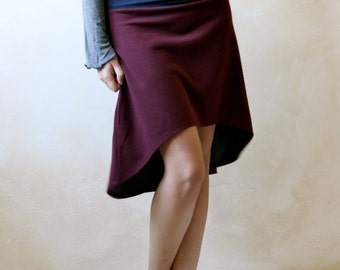 High low skirt, casual skirt, burgundy skirt, asymmetric skirt, fall winter skirt, cotton skirt, women clothing, fall winter clothing