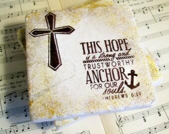 Antiqued Christian Coasters Travertine Scripture Hebrews 6:19 Coasters in Espresso Set of 4