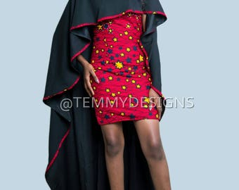 African Prom dress, Red star African pencil dress with cape, Ankara fabric, African clothing, women clothing, African dress, African print