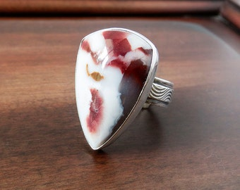 CHOOSE YOUR SIZE: Candy Agate Ring, Agate Gemstone Ring, Sterling Silver Stone Ring, Artisan Wide Band Ring, Everyday Ring, Custom Size