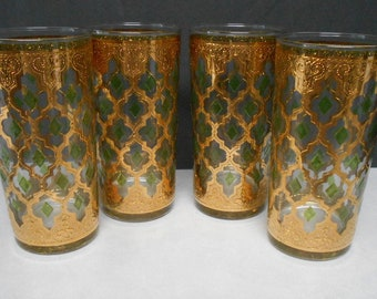 Culver Valencia High Ball 24k Gold & Green Diamond Barware 5th Ave New York 4pc
