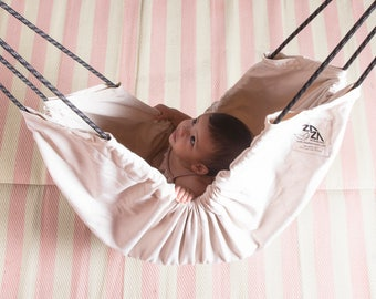 Baby Hammock Swing Nursery Natural unbleached cotton fabric Zaza Nature Baby Hammock. Indoor - Outdoor swing, therapy swing, Hammock Chair
