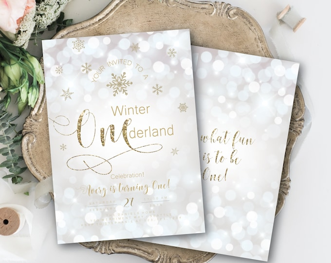 Silver and Gold Winter Onederland Birthday Invitation First Birthday Glitter Sparkle Bokeh Invite White Snowflakes Modern SEATTLE COLLECTION