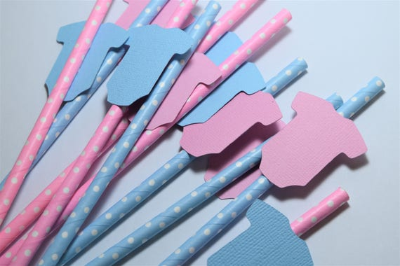 Pink And Blue Onesie Straws Gender Reveal Party Decorations Gender
