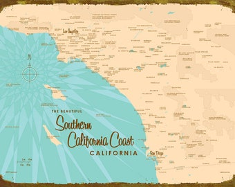 Southern California Coast Map - Wood or Metal Sign