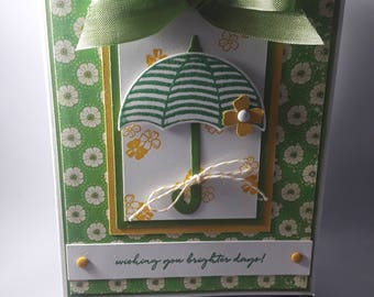 Handmade Green Umbrella Card
