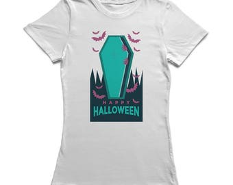 Happy Halloween Scary Coffin Cartoon Women's White T-shirt