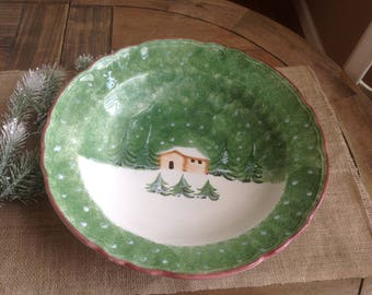 "Log Cabin Christmas , The  Cellar, Large Pasta Bowl over 14"" wide"