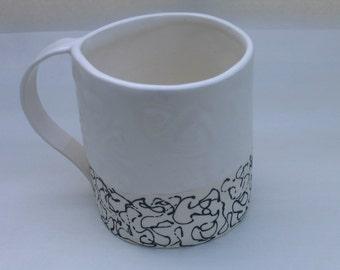 Mug White Black Squiggle     ceramic   made to order